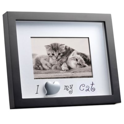 Black Matted Shadowbox I Love My Cat 4-Inch x 6-Inch Frame
