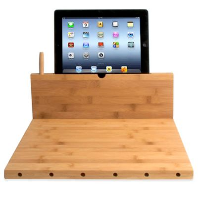CTA Digital Bamboo Cutting Board with Stand for iPad® and Tablets