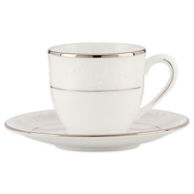 Lenox® Opal Innocence™ Demitasse Cup and Saucer in White/Platinum