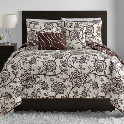Jordan 5-Piece Reversible Full/Queen Quilt Set in Chocolate