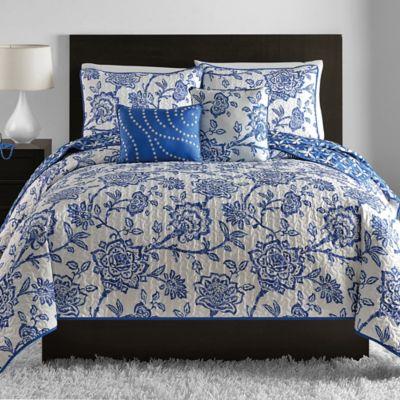Jordin 5-Piece Reversible King Quilt Set in Blue