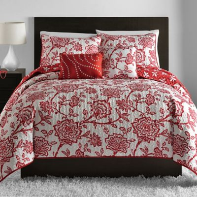 Jordin 5-Piece Reversible Full/Queen Quilt Set in Red