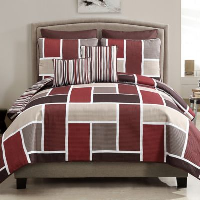 Morgan 7-Piece Reversible Queen Quilt Set in Red