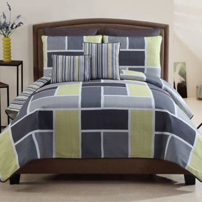 Morgan 7-Piece King Reversible Quilt Set in Yellow