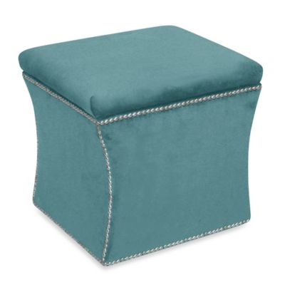 Skyline Furniture Nail Button Storage Ottoman in Velvet Black