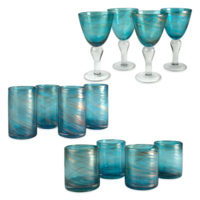 Artland Shimmer Drinkware in Turquoise (Set of 12)