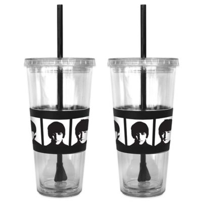 The Beatles Portraits No-Spill Straw Tumblers (Set of 2)
