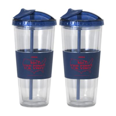 The Beatles U.S. Visit No-Spill Straw Tumblers (Set of 2)