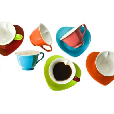 Classic Coffee & Tea Hearts Teacups and Saucers (Set of 6)