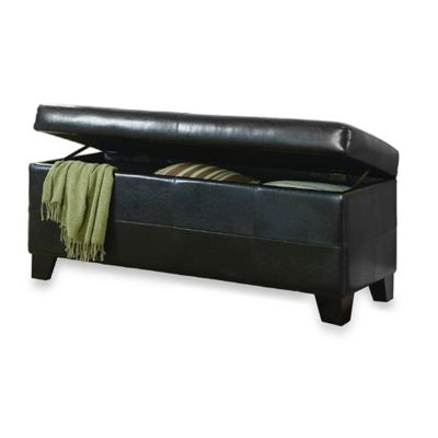 Mariolla Faux Leather Storage Bench in Red