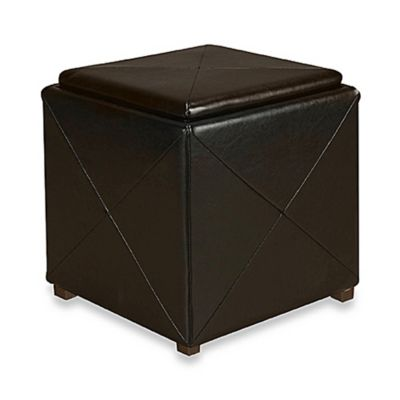 Black Leather Storage Cube