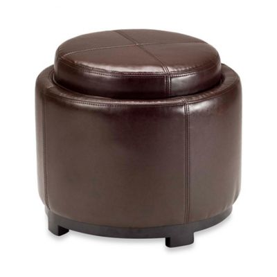 Safavieh Hudson Leather Chelsea Round Tray Ottoman in Brown