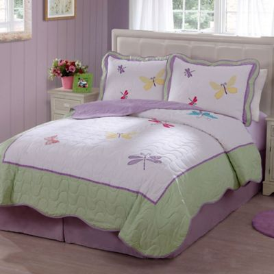 Dragonfly Butterfly Twin Quilt Set