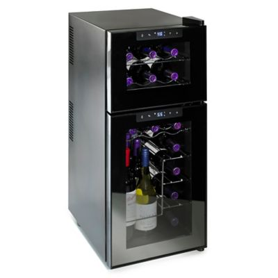 Wine Enthusiast™ Silent 21-Bottle Dual-Zone Touchscreen Wine Refrigerator in Black