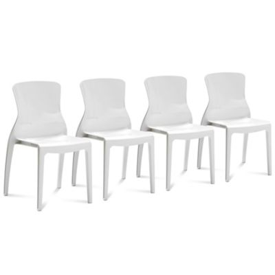 Domitalia Crystal Dining Chair in White (Set of 4)