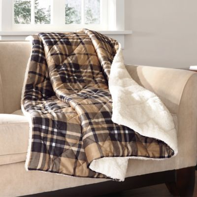 The Seasons Collection® Mink to Berber Down-Alternative Filled Reversible Throw in Plaid