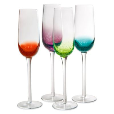 Artland® Fizzy Champagne Flutes in Assorted Colors (Set of 4)