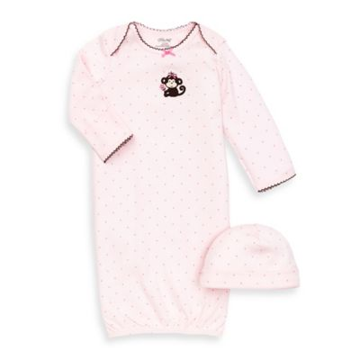 Little Me® Pretty Monkey 2-Piece Newborn Gown and Hat Set
