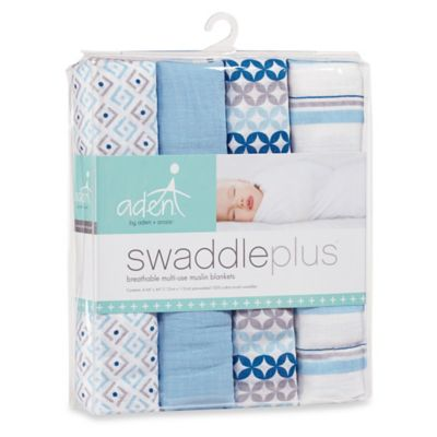aden® by aden + anais® 4-Pack Muslin swaddleplus® Blankets in Blue