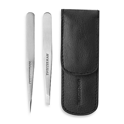 buy tweezerman mini slant and point tweezer set from bed bath beyond. Black Bedroom Furniture Sets. Home Design Ideas