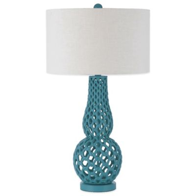 AF Lighting Horizon Series Chain Link Table Lamp in Blue with White Hardback Shade