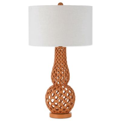 AF Lighting Horizon Series Chain Link Table Lamp in Orange with White Hardback Shade