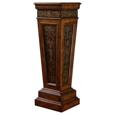 Pulaski Preston Weighted Base Pedestal with Faux Metal Paneling in Brown
