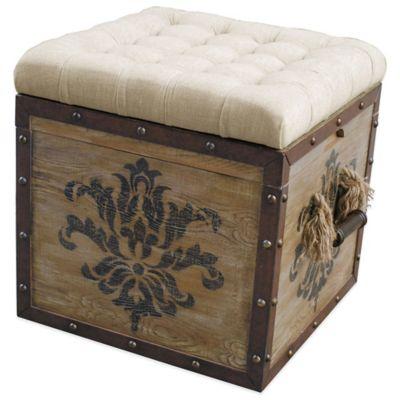 Pulaski Harrison Damask Crate Storage Ottoman in Natural