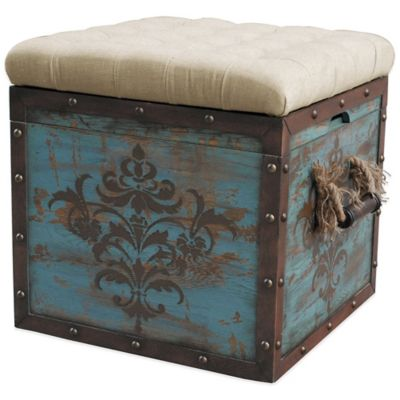 Pulaski Steele Damask Crate Storage Ottoman in Blue