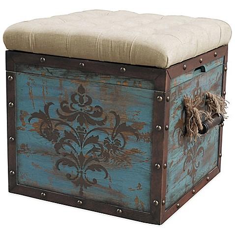 Buy Pulaski Steele Damask Crate Storage Ottoman In Blue