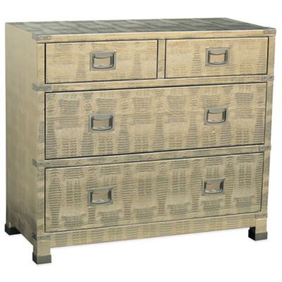 Pulaski Cairo 4-Drawer Metallic Crocodile Accent Chest in Silvery Gold