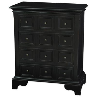 Pulaski Lincoln 4-Drawer Apothecary Accent Chest in Aged Black Finish