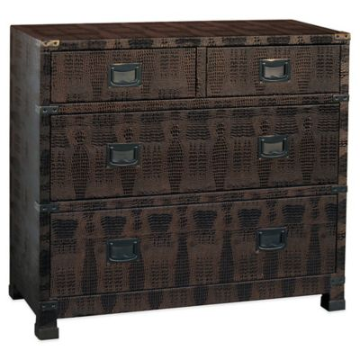 Pulaski Alexandra 4-Drawer Metallic Crocodile Accent Chest in Bronze