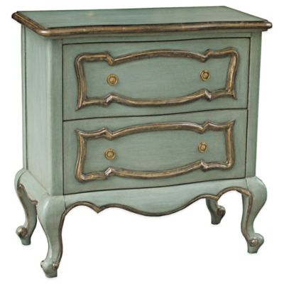 Pulaksi Arles Vintage Gold Trim 2 Drawer Accent Chest in Blue