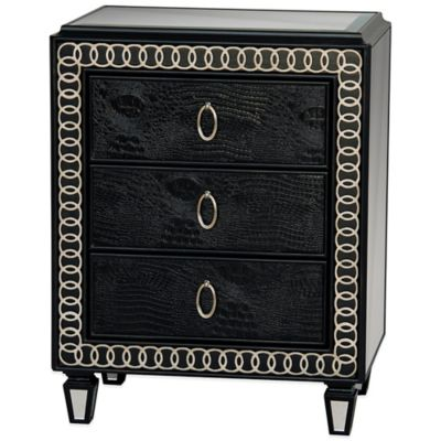 Pulaski Ellington 3-Drawer Art Deco Accent Chest in Black