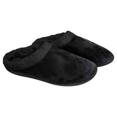 Women's Size Small Memory Foam Sherpa Lined Slippers in Black