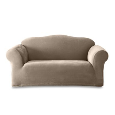 Sure Fit® Stretch Sterling Loveseat Slipcover in Taupe