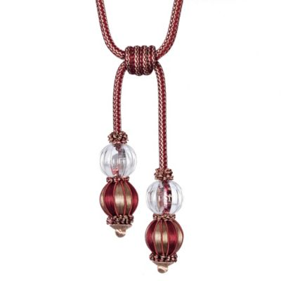 Double Glass Ball Tassel Tie Back in Red