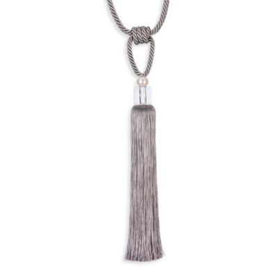 Single Glass Pearl Grey Tassel Tie Back in Grey