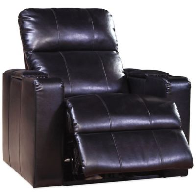 Pulaski Larson Leather Power Recliner in Cranberry