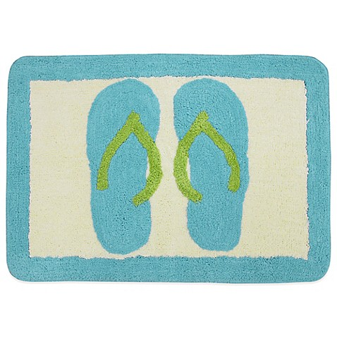 Beach scene bath rug bed bath beyond for Bathroom decor rugs