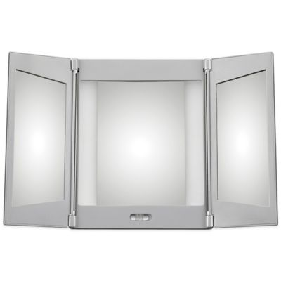 buy jerdon tri fold lighted magnification mirror from bed bath beyond. Black Bedroom Furniture Sets. Home Design Ideas