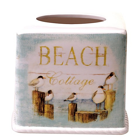 Seaside cottage boutique tissue box cover bed bath beyond - Beach themed tissue box cover ...