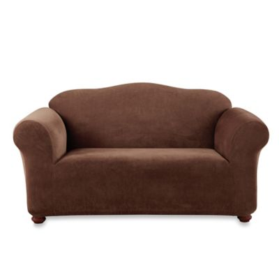 Sure Fit® Stretch Sterling Loveseat Slipcover in Chocolate