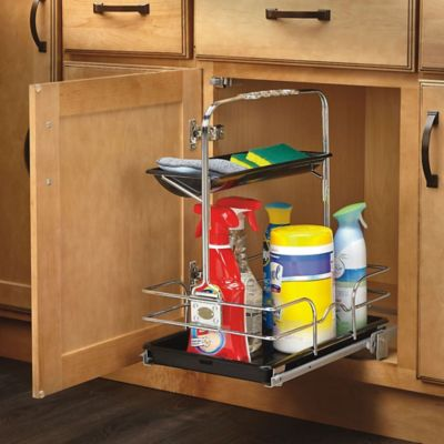 Rev-A-Shelf® Under-Sink Pull-Out Removable Cleaning Caddy in Chrome