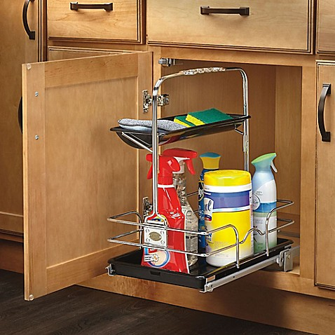 rev a shelf under sink pull out removable cleaning caddy in chrome. Black Bedroom Furniture Sets. Home Design Ideas