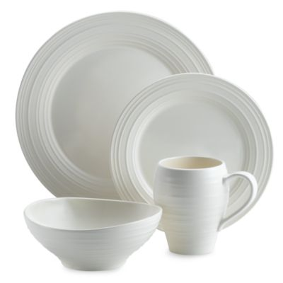 Swirl 4-Piece Place Setting in White
