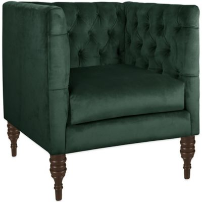 Skyline Furniture Tufted Arm Chair in Mystere Jade