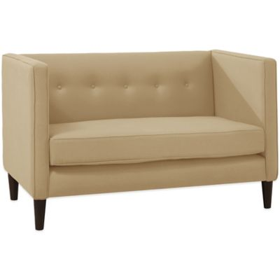 Skyline Furniture 5 Button Loveseat in Linen Sandstone