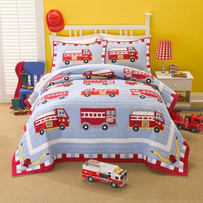 Cotton Fire Truck Twin Quilt Set